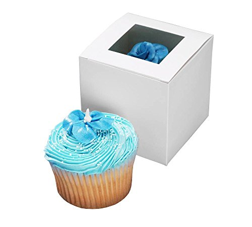 Darice 1404-281, Cupcake Box with Window, 24-Pieces per package, 3-1/2-Inch-by-3-1/2-Inch-by-3-1/2-Inch