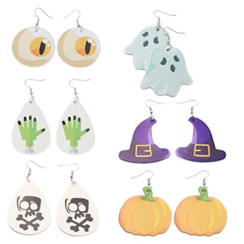 Tomaibaby 6 Estilos de Pendientes de Tema de Halloween Pendientes de Gota Pendientes de Broche de Halloween Conjunto de Joyas de Halloween para Mujeres Niñas Vestido de Fiesta