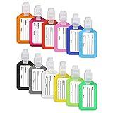 Vicloon Etichette per Bagagli, 12 Pezzi Viaggio bagagli Tag, Deposito Bagagli Tag Realizzata in plastica in Colori Vivaci, Luggage Tags per il Aereo Bagaglio, Valigie (12 Colore Diverso)