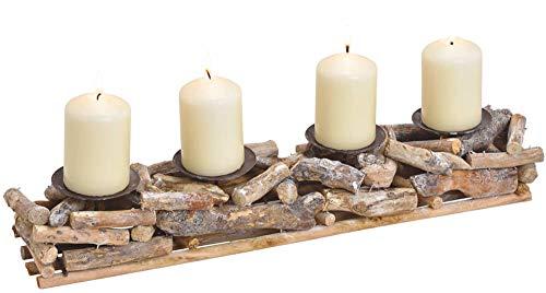 matches21 Adventsgesteck rustikal Holz Altholz Treibholz Wurzeln Holzgesteck & 4 Kerzenhalter Tischdeko 1 STK 50x10 cm