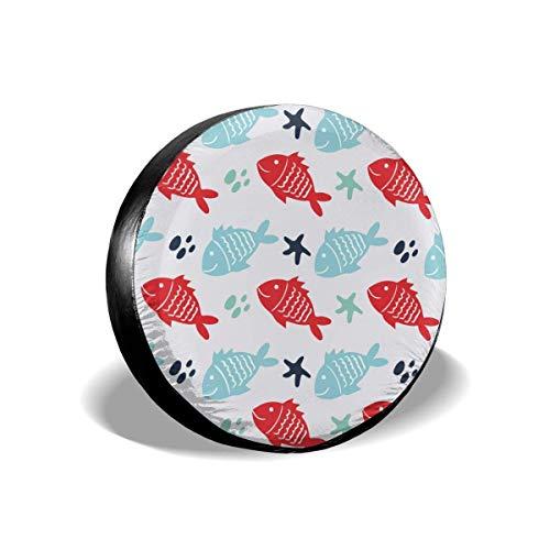 shenguang Cubierta de neumático de Repuesto Personalizada, diseño de Estrella de mar de pez, diseño Personalizado a Todo Color, se Adapta a tamaño de Accesorios JEE/p o Camper RV