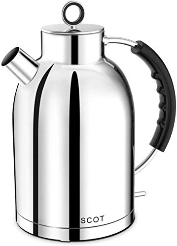 Electric Kettle, ASCOT Stainless Steel Electric Tea Kettle, 1.7QT, 1500W, BPA-Free, Cordless, Automatic Shutoff, Fast Quiet Boiling Water Heater - Polished Silver