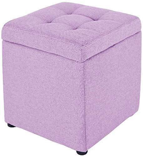 MUZIDP Cubo de almacenamiento otomano, cuadrado de lino otomano, taburete de pie tapizado pequeño y versátil caja de almacenamiento con tapa abatible reposapiés de almacenamiento (color morado claro)