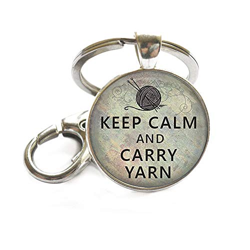 Keep Calm and Carry Yarn Keychain, Knitting Keychain, Knitting Jewelry, Knitters Keychain, knitter's Gift Key Chain Purse Hook Hanger