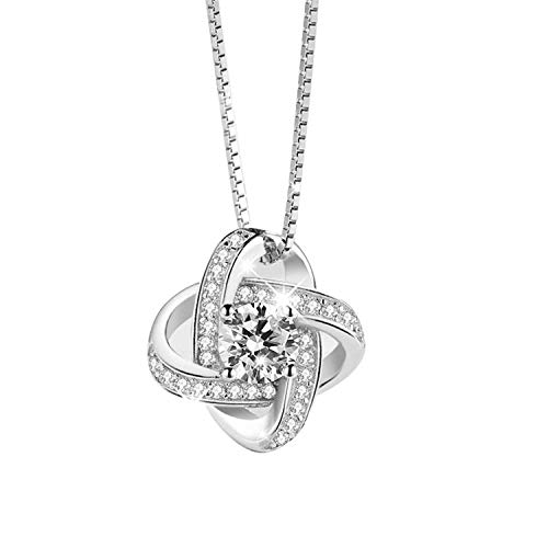 Daesar Women Necklace Silver, Pendant Necklace for Women Sterling Silver Love Knot Cubic Zirconia Pendant Necklace Silver