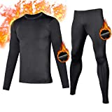 FANDIMU Mens Thermal Underwear Set Light Fleece Skiing Clothes Winter Base Layers Tight Long Johns Comfy Warm Tops and Bottom (Black-1, XXL)
