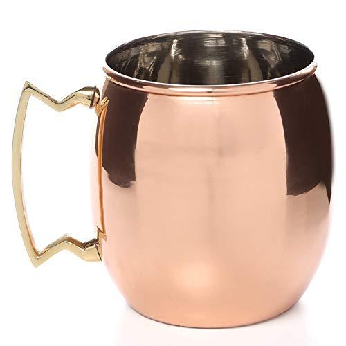 TreegoArt Taza de cobre puro Moscú Mule de acero inoxidable chapado en cobre con mango de latón, 450 ml (paquete de 1)