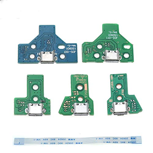 New USB Charging Port Socket Circuit Board with Power Switch Ribbon Cable for PS4 JDS 011 001 030 040 055 Controller (JDS-055)
