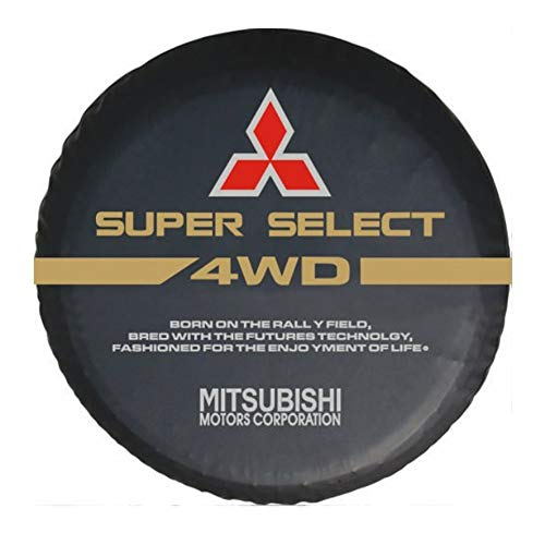 Wooleagoo - Funda de Piel para Rueda de Repuesto de Mitsubishi, PVC Resistente, Color Negro