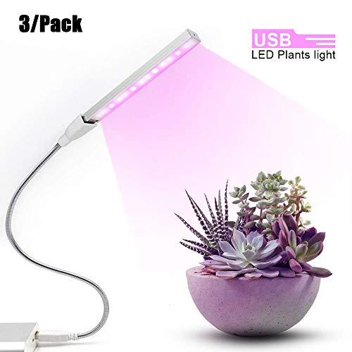 Lámpara de Planta 3Pack / 3W Led Plant Grow Light USB DC 5V para Plantas Red Blue Led Plant Grow Lámparas de luz Full Spectrum Led Grow Lights Bulb Phytolamp
