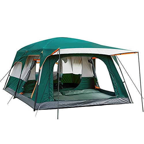 KTT Large Tent 8 Person,Family Cabin Tents,2 Rooms,Straight Wall,3 Doors and 3 Windows with Mesh,Waterproof,Double Layer,Big Tent for Outdoor,Picnic,Camping,Family,Friends Gathering.
