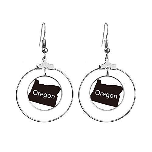 Oregon de Verenigde Staten van Amerika kaart oorbellen Dangle Hoop sieraden Drop Circle