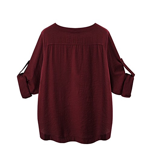 iTLOTL Women O Collar Loose Girl 3/4 Long Sleeve Autunm Plus Size Shirt (Wine Red ,US-16/CN-2XL) 3