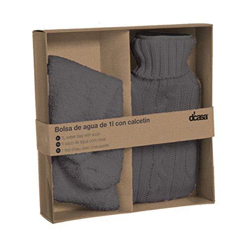 Deco Line Geschenkset Wärmflasche 1 l + Kuschelsocken, grau, 22 cm