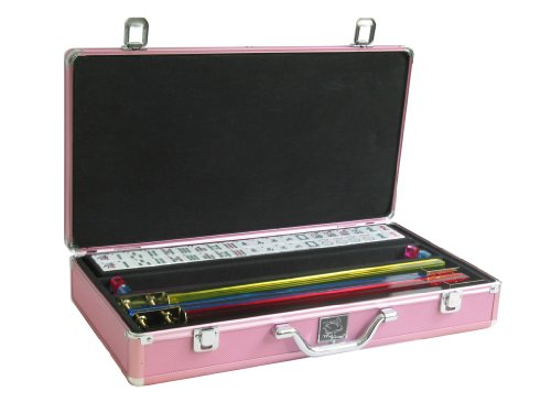 White Swan Mah Jongg Set - Mahjong Game Set (White Tiles, Pusher Arms, Aluminum Case, Pink)