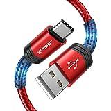 JSAUX USB Cケーブル【1M+2M 2本セット】急速充電 ナイロン編組 Samsung Galaxy S10 S9 S8 S20 Plus A3 A5 2017 Note 10 9 8、Google Pixel、Sony Xperia XZ、P9P10アンドロイド多機種対応-赤