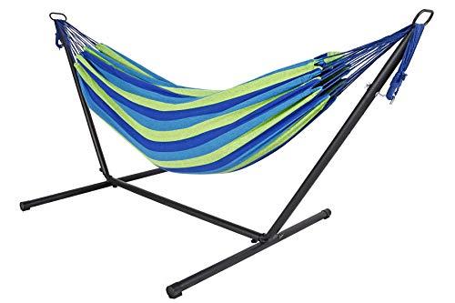 Livinxs Doppel Hängematte mit Stahlgestell   Platz für Zwei Personen   Perfekt für Garten, Balkon oder Terrasse   Hohe Belastbarkeit (Lagoon)