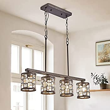 4-Light Dining Room Lighting Fixtures Hanging Oil Rubbed Bronze Chandelier with Metal and Crystal Lampshades Farmhouse Island Lights for Kitchen