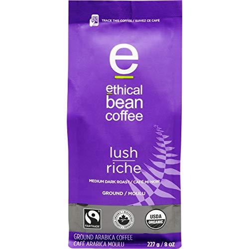 Lush Ethical Bean Coffee: Medium Dark Roast Ground Coffee - USDA Certified Organic Coffee, Fair Trade Certified - 8 Ounce Bag (227 g)