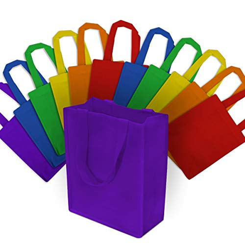 """Pack of 12: Reusable pp non-woven multi-colored bags come in a pack of 12. Comes with 2 Blue, 2 Orange, 2 Red, 2 Yellow, 2 Green & 2 Purple Bags. Each bag measures at 8""""W X 10""""H X 4"""" Durable Materials and Construction: Made from super durable and reu..."""