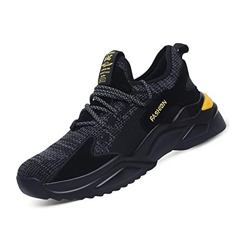 Aingrirn Zapatos de seguridad Hombres Acero Toe Cap Entrenadores para mujer Zapatos de trabajo ligeros transpirables Industriales antideslizantes Zapatillas de deporte, color Amarillo, talla 38 2/3 EU
