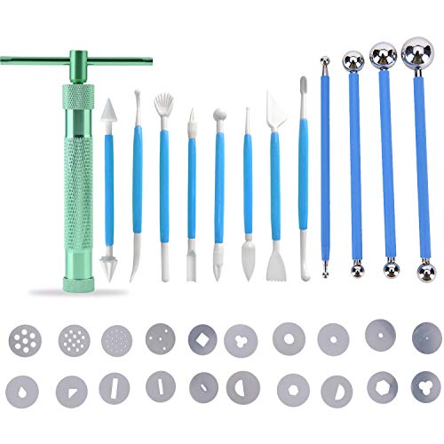 33Pcs Clay Fondant Extruder Cake Decorating Supplies Sugar Modeling Tool, Clay Extruder Gun with 20 Tips Sugar Paste Extruder, 4pcs Ball Stylus Dotting Tool & 8pcs Cake Crafts Clay Sculpting Tools