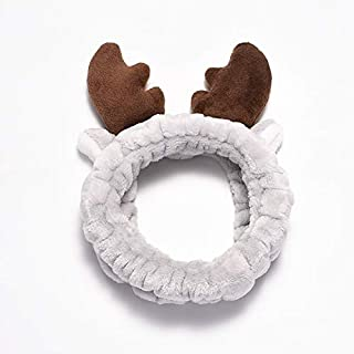 Hair band Girls Stretch Hair Band Christmas Antlers Headband Wash Face Spa Coral Velvet Comfortable Headband MJZCUICAN (Color : Gray, Size : Free)