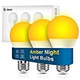 Neporal Amber Light Bulbs, 9W 60W Equivalent A19 Soft Light Bulbs, 3 Pack Blue Light Blocking Warm Light Bulbs, 1800K Amber Night Light Bulbs, Dim Light Bulbs for Healthy Sleep and Baby Nursery Light