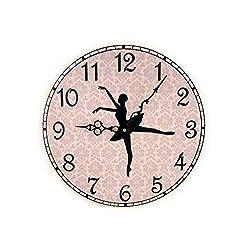 None Brand Ballerina Wall Clock Ballet Wall Decor Pink Damask Wall Clock with Dancer Girls Room Decor Unique Wall Clock Ballet Lover Gift