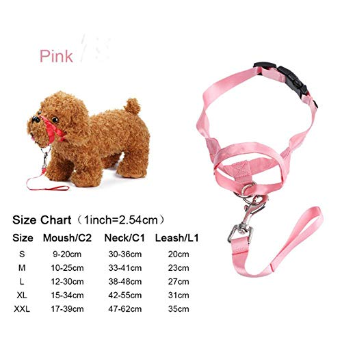 Qingsb Verstelbare anti-bijt geen trekhond Nylon halster Halter Snuitband voor honden Stop Trek Halster Training, roze, XL