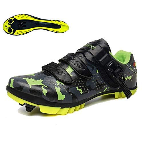 BING FENG MTB Profesional de los Zapatos al Aire Libre Zapatos atléticos Bici el competir con Zapatillas de Bicicleta Autobloqueante Camuflaje Luminoso Zapatillas de Deporte