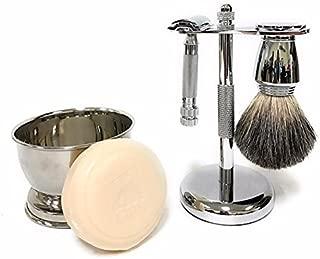 Shave like A Gentleman GBS Chrome Shaving Gift Set - #178 Safety Razor, Pure Badger Hair Shaving Brush Chrome Handle, Stainless Steel Brush & Razor Stand, Shaving Bowl with Soap!