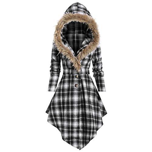 BOLANQ Damen Weihnachten Plaid Panel Kapuzen Kleid Rock langes Kleid Plüsch Gurt unregelmäßiges Kleid(XX-Large,Weiß)