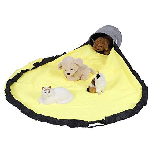 ZHHZ Cesta de almacenamiento de juguetes – Contenedor de almacenamiento para juegos portátil para niños, bolsa de almacenamiento de juguetes integrada, bolsa amarilla grande + cesta gris