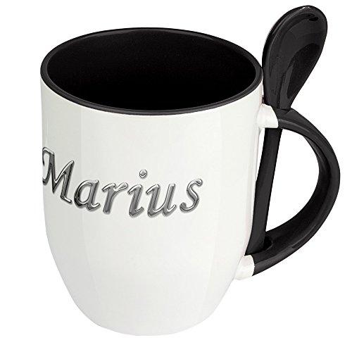 Namenstasse Marius - Löffel-Tasse mit Namens-Motiv Chrom-Schriftzug - Becher, Kaffeetasse, Kaffeebecher, Mug - Schwarz