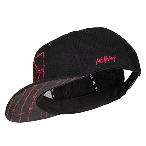 Nebelkind Snapback Cap Schwarz Barbed Wire Stacheldraht Rot Größenverstellbar Unisex One Size