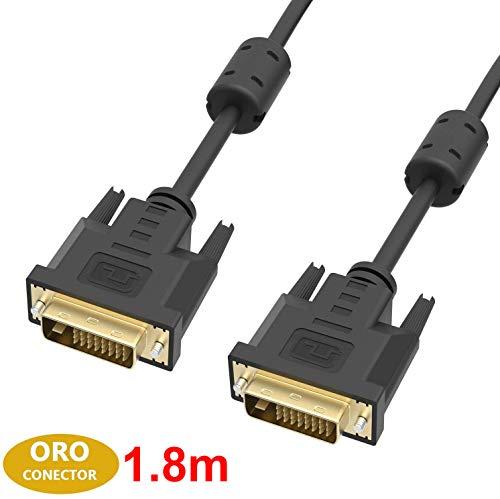 ICZI Cable DVI a DVI con 2 Núcleos de Ferrita, 1.8m, Cable-DVI(24+1) de Cobre estañado OFC con Conectores chapados en Oro para Videoconsolas, DVD, Pantallas, HDTV y Proyectores