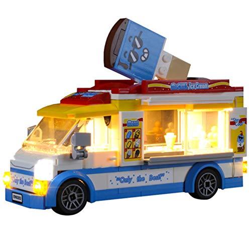 QZPM Conjunto De Luces (City Great Vehicles Camión De Los Helados) Modelo De Construcción De Bloques, Kit De Luz LED Compatible con Lego 60253 (NO Incluido En El Modelo)