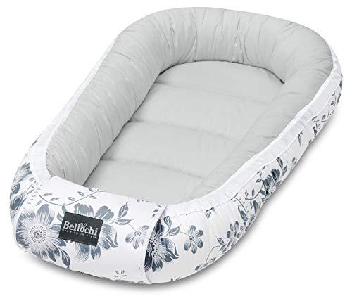Bellochi Babynest Babynestchen Neugeborene - 100% Baumwolle - ÖKO-TEX zertifiziert - Baby Kuschelnest - 90x60x12cm - Moon Berry