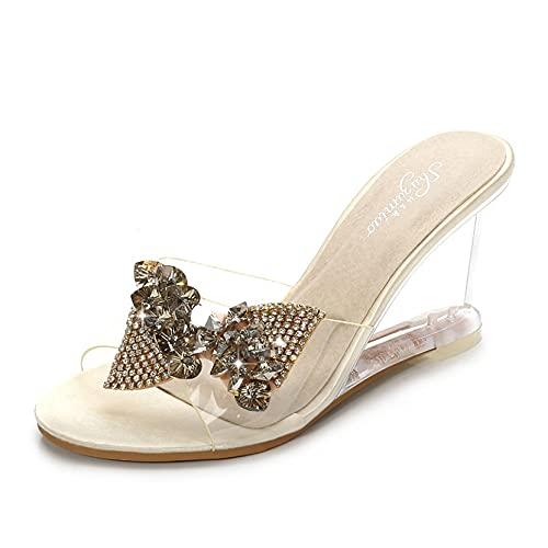 Sandalias para mujer, sandalias de playa, con lazo, con diamantes de imitación, zapatos de plataforma, albaricoque, 37 EU
