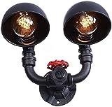 Lámpara de pared de moda American Double Head Lámpara de pared Industrial Loft Metal Dome Shade Retro Agua Tubería de pared Luz de pared con el interruptor de apagado Steampunk E27 Iluminación Sconenc