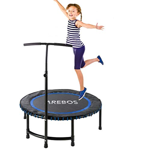 LuoMei Small Trampoline Set with Handle Folding Fitness Trampolines Safety Jumper Aerobic Exercise Bungee Rebounder for Kids Adultblack