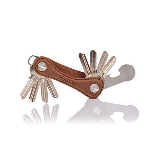 DONBOLSO® Key Organizer Bone mit Einkaufswagenlöser I Leder I Edelstahlschraube I Etui für 2-14 Schlüssel I Braun