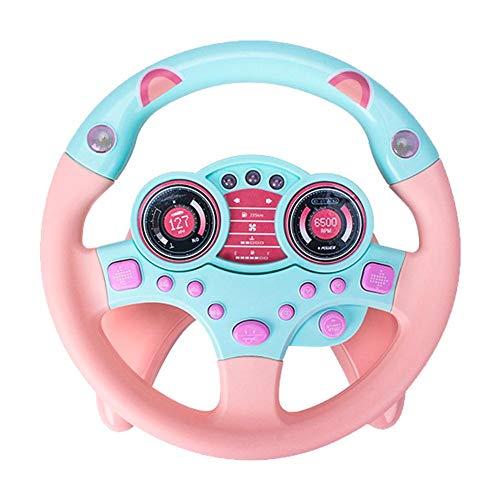 Sunnyushine Simulación Volante Juguete con luz y conducción Sonido Educativo Juguetes para niños Entretenimiento y estimulación