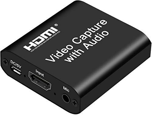 Rybozen Tarjeta de Captura HDMI Audio Video con Salida de Bucle, USB 2.0 4K HD 1080P 60FPS Tarjeta de Captura de Videojuegos HDMI para transmisión en Vivo para PS3 / PS4 / Xbox One