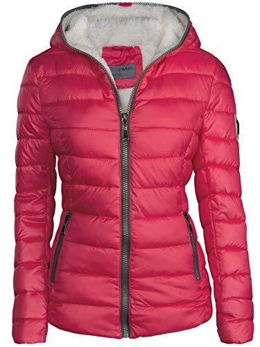 S'West Damen Winter Jacke GEFÜTTERT KURZ STEPP DAUNEN Optik Kapuze Skijacke WARM New, Farbe:Rot, Größe:XL