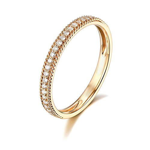Daesar 18K Yellow Gold Ring Band Promise Ring Diamond 0.21ct Elegant Simple Thin Rows Round Diamond Partner Rings Gold Ring Size J 1/2