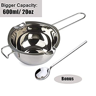 304 Stainless Steel Double Boiler Pot, Melting Pot with Large Serving Spoon for Butter Chocolate Candy Butter Cheese?Candle Making Kit with Capacity of 600ml/20oz