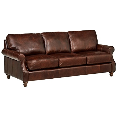 "Stone & Beam Charles Classic Oversized Leather Sofa, 92""W, Walnut"