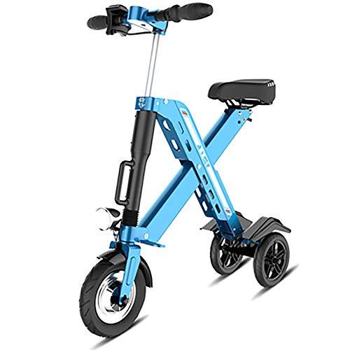 Falten Dreirad E-Bike,Mini Klein Elektrofahrrad Für Männer Frauen City Pendeln,Ultraleicht Erwachsene Pedelec,Max Geschwindigkeit 25 Km Pro Stunde Blau 30-45km 350w 36v 10.4ah